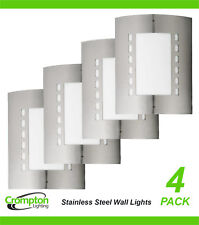 4 x 316 Stainless Steel Bunker Wall Lights Rectangular Diffused Outdoor Exterior