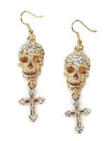 Skull and Cross Gold Plated Pierced with Crystals Dangle Earrings Halloween