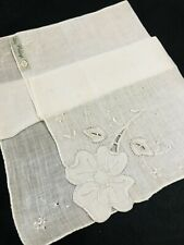 Lady Heritage Madeira Irish Linen/Cotton Wedding Hanky Pansy Floral Embroidery