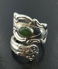 Antique Towle 1973 Sterling silver Spoon ring with Jade accent