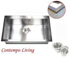 "33"" Square Single Bowl Zero Radius Topmount Drop In Stainless steel Kitchen Sink"