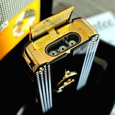 More details for 24k gold plated metal cohiba table lighter triple flame 3 turbo jet cigar punch