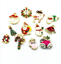 DIY Wholesale 12Pcs Gold Mix Christmas Pendants Charms Party Decor Ornament Set