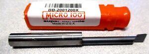 Micro 100 (BB-2001200X) 1/4 s 2-1/2 .2000 - 1.2000 Depth RH Carbide Boring Bar