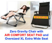 """FOUR SEASONS (WITH PADDED CUSHION) Extra Wide Seat (22.5"""") Zero Gravity Chair"""