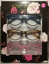 New 3 Pair Betsey Johnson Readers Reading Glasses Black Tortoise Pink 2.00