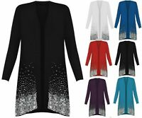 New Ladies Plus Size Long Sleeve Glitter Sequin Sparkle Open Party Cardigan Top