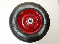 "16"" 4.80/4.00-8 PNEUMATIC AIR PUMP UP WHEELBARROW WHEEL TYRE METAL DOUBLE HUB"
