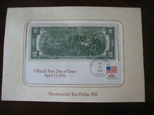 BICENTENNIAL 2 DOLLAR BILL FIRST DAY COVER 4/13/1976 - EXCELLENT CONDITION