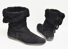 Tod's Ankle Boots Booties Shoes Moccasins Suede Leather Faux Fur Black Womens 9?