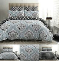 DAMASK BEDDING DUVET COVER SET 100% COTTON 200 THREAD COUNT DOUBLE KING SIZE
