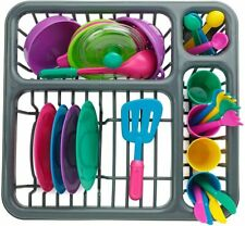Kids Pretend Play Dishes Kitchen Playset - Wash and Dry Tableware Dish Rack Toy