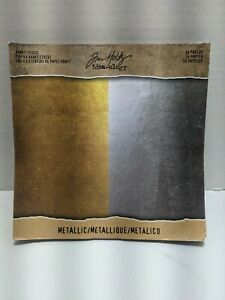 Metallic Shimmer Paper Sheets 9x9, gold and silver 36 sheets, scrapbook craft