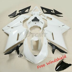 Unpainted ABS Injection Fairing Bodywork Kit Fit For Ducati 848 1098 1198 07-12