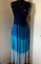 Superdry Sunset Trapeze Maxi Dress Blue Navy Summer Size Large 14 Tie Dye Womens