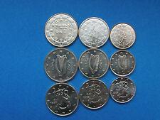 1+2+5  cent Münzen aus Portugal Irland Finnland 9 Münzen