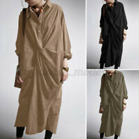 Womens Oversized Long Sleeve Collared Solid Casual Loose Kaftan Baggy Maxi Dress