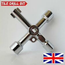 4 Way Utility Multi Cross Key For Radiators Meter Box Gas Electric Cupboard Tool