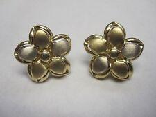 14kt Multi-tone Puffed Flower earrings