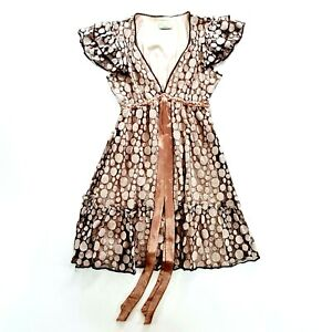 REVIEW Womens Lace Polka Dot Flutter Sleeve Tie Back Dress Size 14