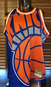 Men's New York Knicks Mitchell & Ness Blue Hardwood Classics Big Face Jersey XL