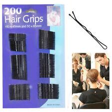200 Negro Nupcial Bobby Pins Hair clips Estilo Pin Kirby diapositiva Salon Clip De Metal