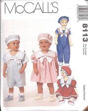 8113 UNCUT McCalls Vintage Sewing Pattern Infant Jumpsuit Dress Panties Beret FF