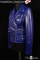 MAXIM Blue Ladies Biker Style Rock Motorcycle Designer Women's Leather Jacket