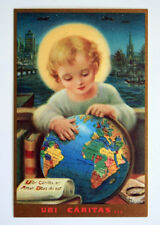 Vintage Holy Card by Mother Mary Nealis Child Jesus Studying Globe UBI CARITAS