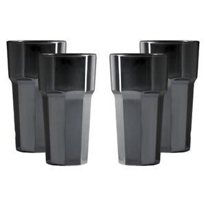 Premium Unbreakable Reusable Polycarbonate Plastic Black Octagon shaped 12oz