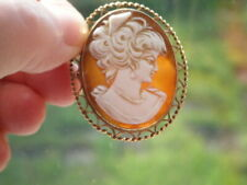 Vintage 9ct yellow gold shell cameo pendant brooch pin C1981