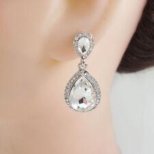 Bride Wedding Austrian Crystal Clear Teardrop  Dangle Earrings Silver Tone
