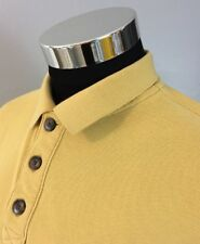 Duluth Trading Co Men's Medium Polo Shirt Cotton Short Sleeve Yellow Gold A72