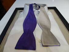 Edward Armah Silk Bow tie Solid Purple Gray 2 in 1 reversible