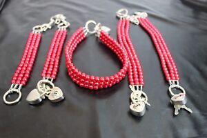 RED Pearl  Bondage Wrist Ankle cuffs collar set restraint high tensile steel