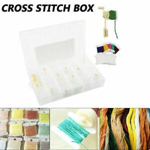 UK Embroidery Floss Cross Stitch Organizer Storage Box Set Thread Bobbins Kit