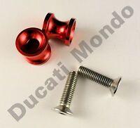 Billet paddock stand spools hook bobbin red for Ducati 749 999 M8 8mm