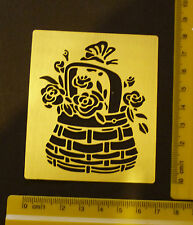 Brass/stencil/Oblong/Basket/Flowers/Rose/Butterfly/Summer/emboss