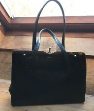 Black Alligator Vintage Frame Handbag/Lucite Panel/Grace Kelly/1950's/60's/Retro