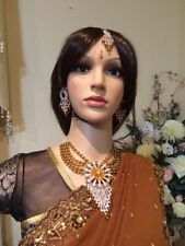 Bollywood Indian Bridal Necklace Earrings Jewellery Set Brown White EID #J22