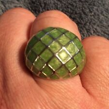 LATASIA  GREEN AND SILVER DOME RING SIZE 7