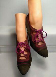 Maud Frizon Paris Lace Up Heels Art Deco Style EU 37