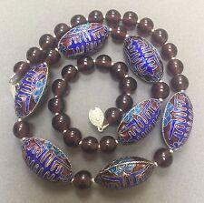 Vintage Chinese Enamel Peking Glass Large Bead Necklace