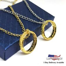Gold Plated Lord of The Rings Inspired Engraved Ring Necklace with Gift Box