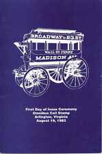 #1897 FD First Day Ceremony Program 1c Omnibus 1880s Coil Stamp