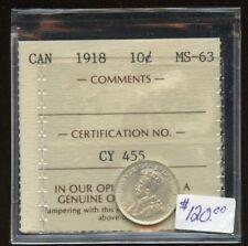 1918 Canada Ten Cents - ICCS MS-63 Cert#CY455