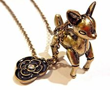 ROBOT DEER clockwork fawn 3D animal kitsch black rose bronze pendant necklace Z4