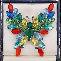 A Fabulous Giant Huge Vintage Multi Coloured Butterfly Brooch Pin