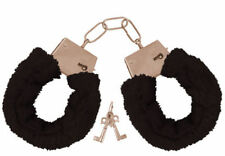 METAL BLACK FURRY HANDCUFFS STAG HEN PRTY FANCY DRESS SEXY ROLE PLAY NIGHT