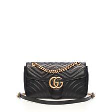 Auth Gucci GG Marmont Shoulder Bag 443497DTDIT1000 Leather Black GHW Double G
